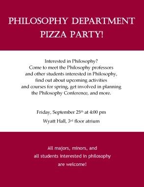 Philosophy Dept Party Flyer
