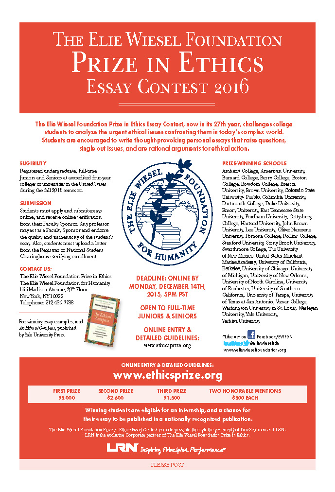 ellie wiesel prize ethics essay contest Information about the elie wiesel prize in ethics essay contest provided by office of prestigious fellowship.